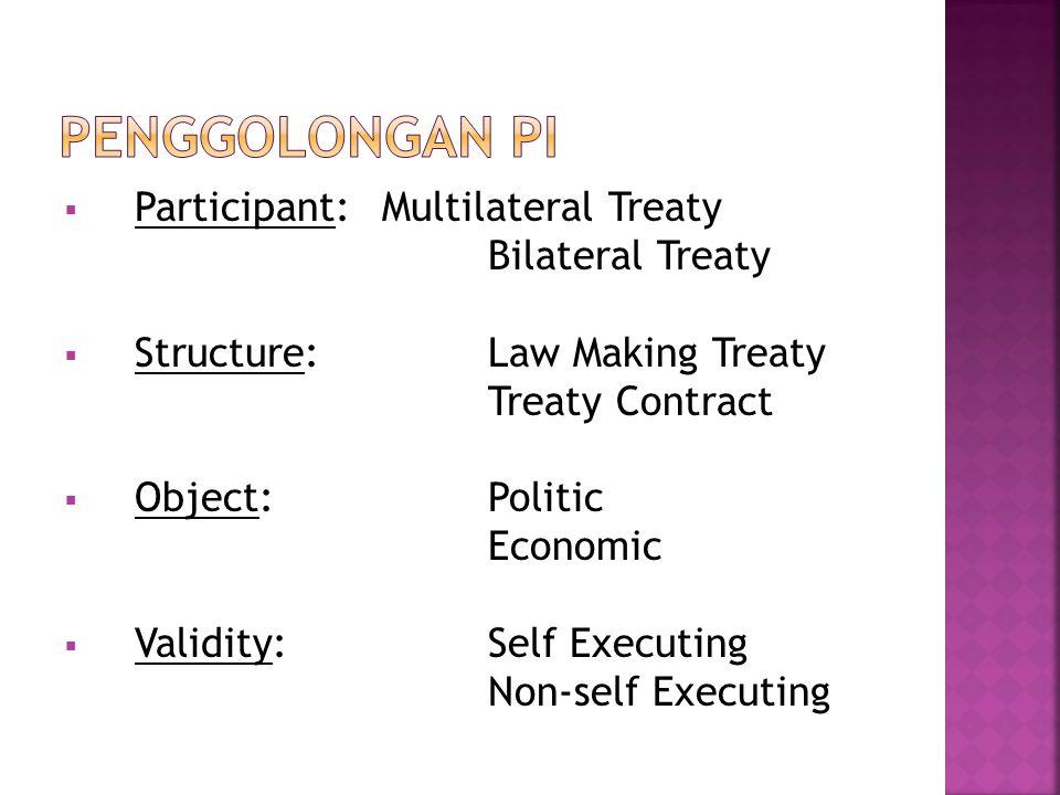  Participant: Multilateral Treaty Bilateral Treaty  Structure: Law Making Treaty Treaty Contract  Object: Politic Economic  Validity: Self Executi