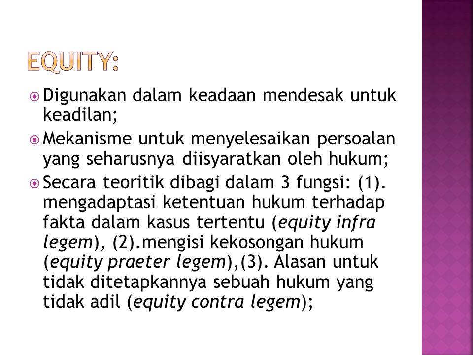  Digunakan dalam keadaan mendesak untuk keadilan;  Mekanisme untuk menyelesaikan persoalan yang seharusnya diisyaratkan oleh hukum;  Secara teoriti