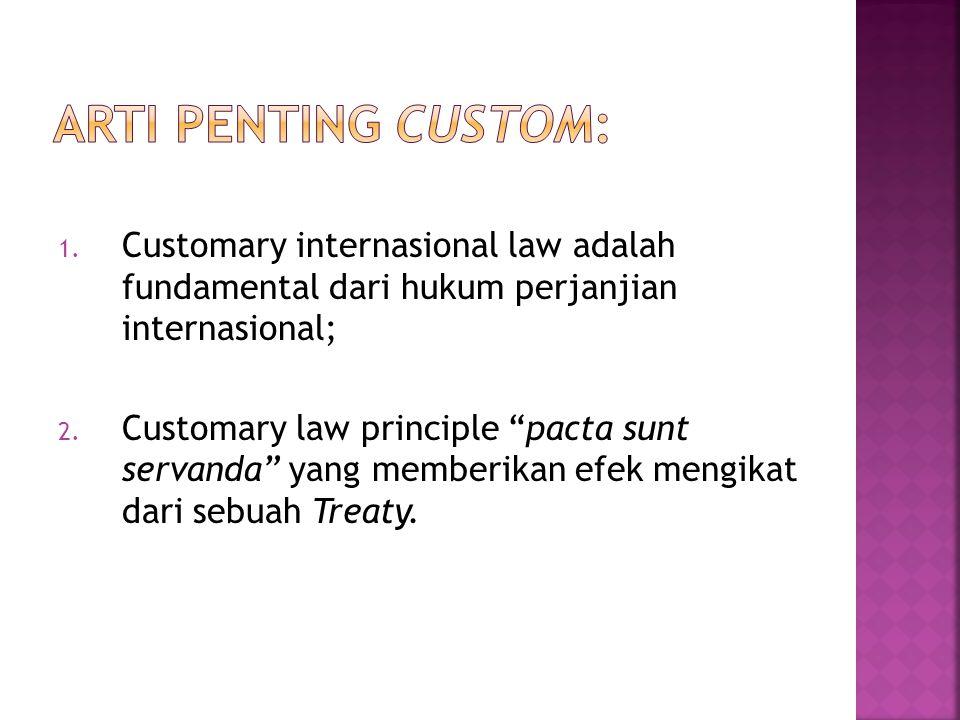 "1. Customary internasional law adalah fundamental dari hukum perjanjian internasional; 2. Customary law principle ""pacta sunt servanda"" yang memberika"