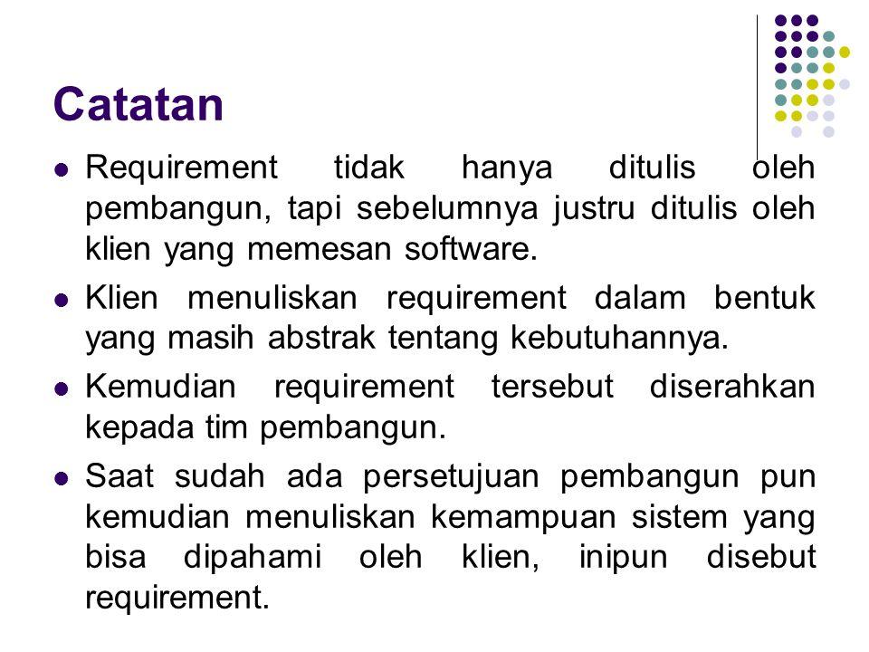 Catatan Requirement tidak hanya ditulis oleh pembangun, tapi sebelumnya justru ditulis oleh klien yang memesan software. Klien menuliskan requirement