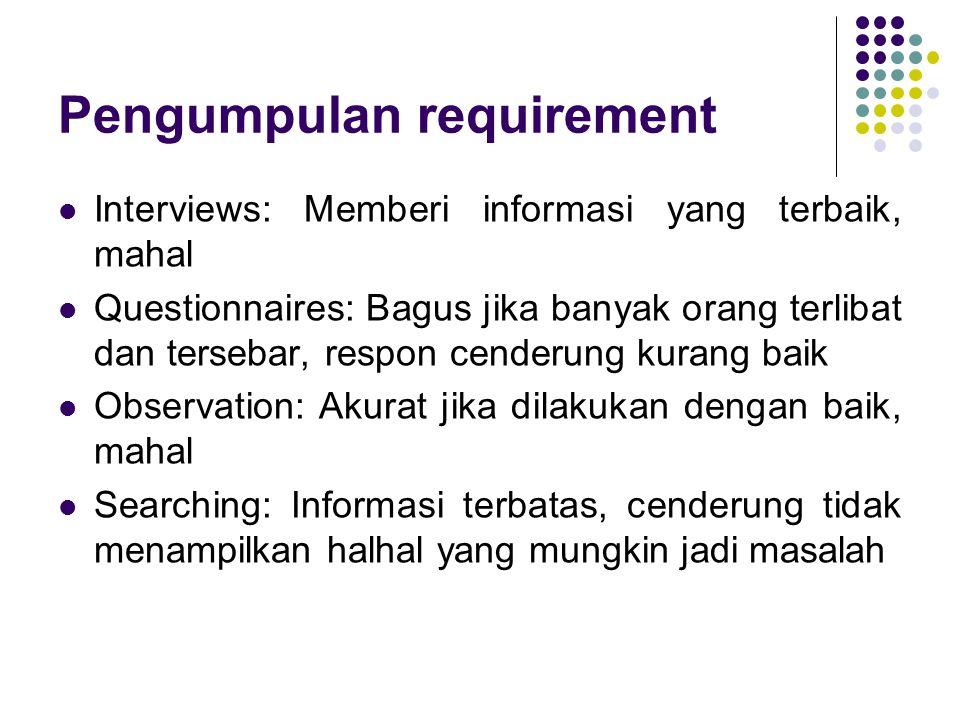 Macam requirement (1) User requirement (kebutuhan pengguna) : Pernyataan tentang layanan yang disediakan sistem dan tentang batasanbatasan operasionalnya.