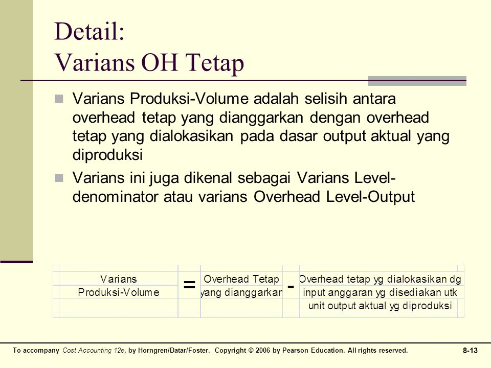 To accompany Cost Accounting 12e, by Horngren/Datar/Foster. Copyright © 2006 by Pearson Education. All rights reserved. 8-13 Detail: Varians OH Tetap