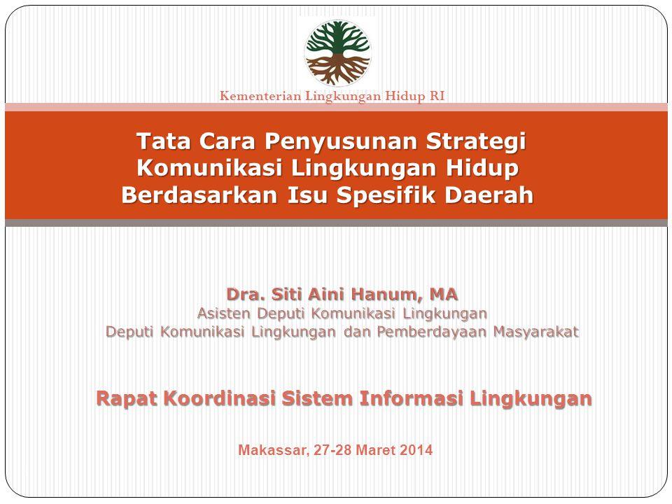 1 Tata Cara Penyusunan Strategi Komunikasi Lingkungan Hidup Berdasarkan Isu Spesifik Daerah Tata Cara Penyusunan Strategi Komunikasi Lingkungan Hidup