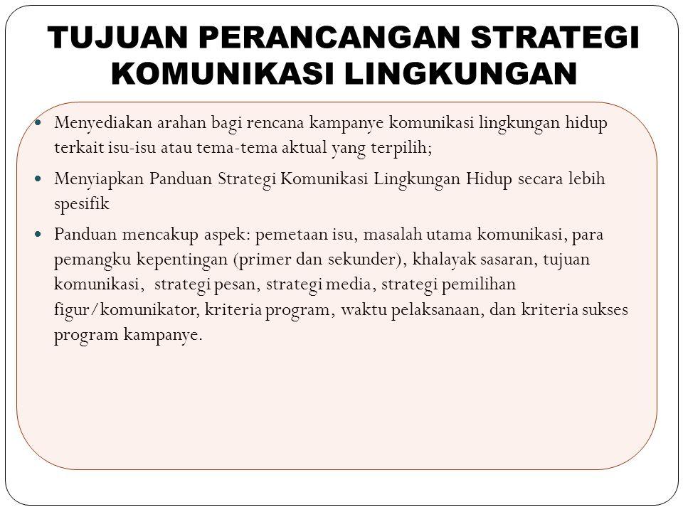 10 Menyediakan arahan bagi rencana kampanye komunikasi lingkungan hidup terkait isu-isu atau tema-tema aktual yang terpilih; Menyiapkan Panduan Strate