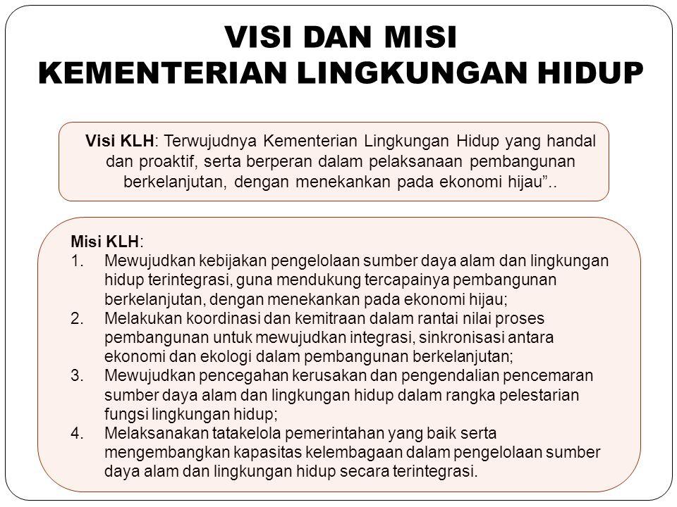 19 Visi KLH: Terwujudnya Kementerian Lingkungan Hidup yang handal dan proaktif, serta berperan dalam pelaksanaan pembangunan berkelanjutan, dengan men
