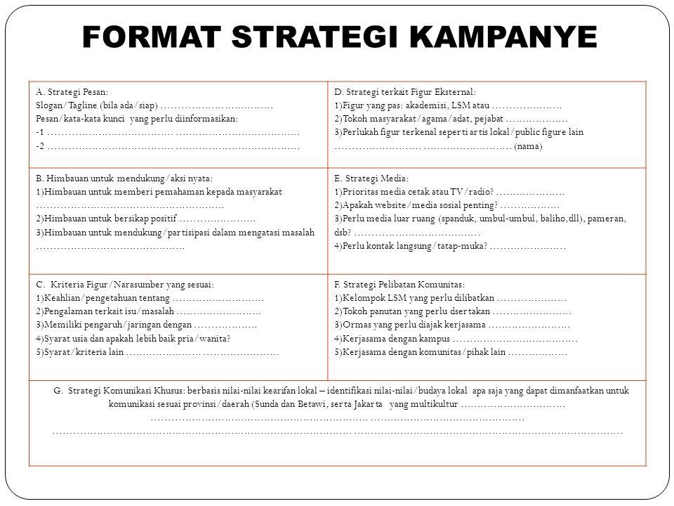 A. Strategi Pesan: Slogan/Tagline (bila ada/siap).................................. Pesan/kata-kata kunci yang perlu diinformasikan: -1...............