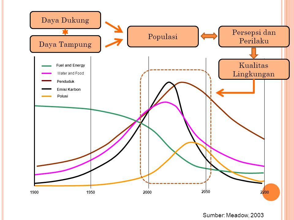 Penduduk Emisi Karbon Water and Food Fuel and Energy Polusi 190019502000 2050 2200 Sumber: Meadow, 2003 Populasi Persepsi dan Perilaku Kualitas Lingku