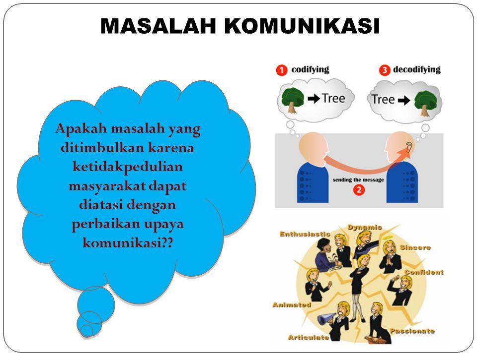 Apakah masalah yang ditimbulkan karena ketidakpedulian masyarakat dapat diatasi dengan perbaikan upaya komunikasi?? MASALAH KOMUNIKASI