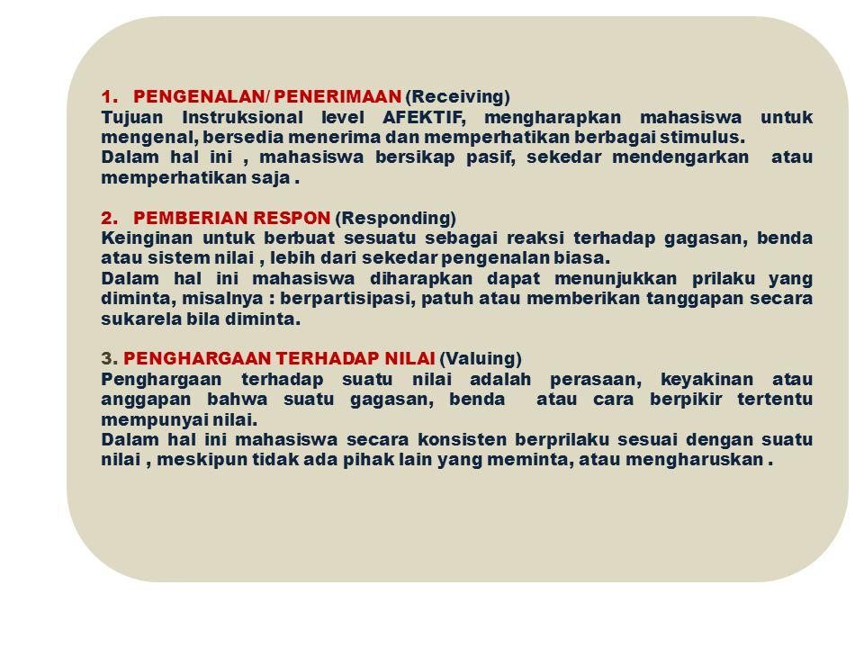 1.PENGENALAN/ PENERIMAAN (Receiving) Tujuan Instruksional level AFEKTIF, mengharapkan mahasiswa untuk mengenal, bersedia menerima dan memperhatikan be