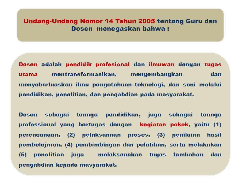 Undang-Undang Nomor 14 Tahun 2005 tentang Guru dan Dosen menegaskan bahwa : Dosen adalah pendidik profesional dan ilmuwan dengan tugas utama mentransf