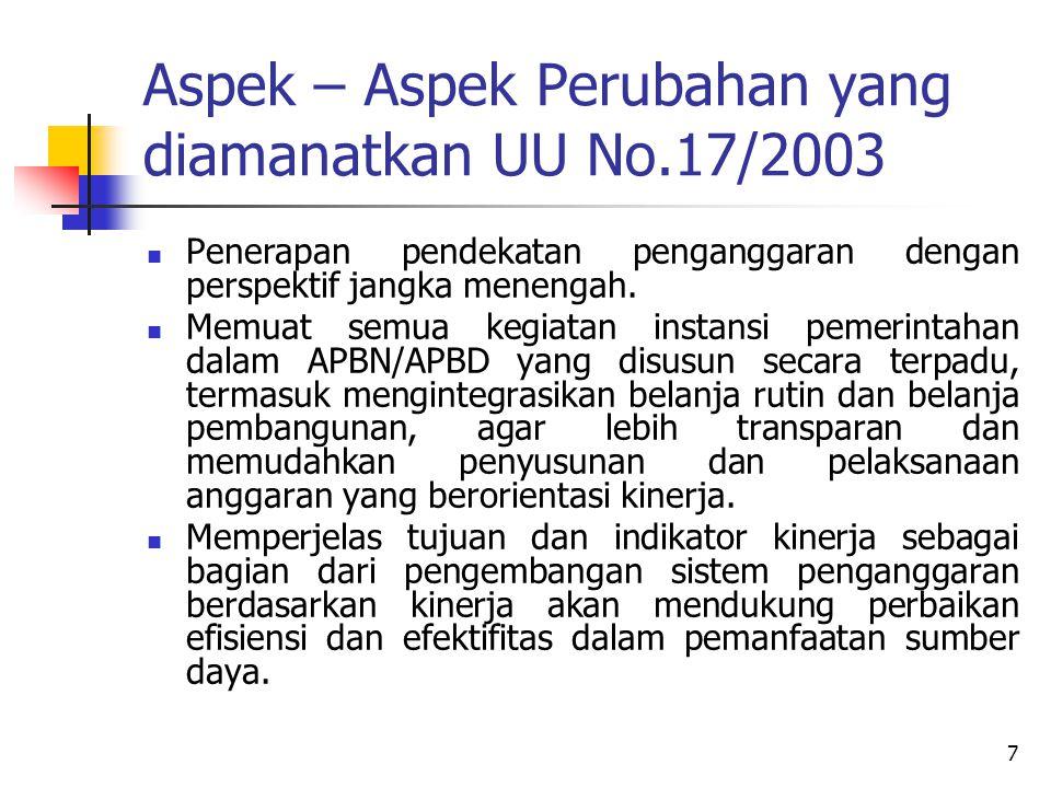7 Aspek – Aspek Perubahan yang diamanatkan UU No.17/2003 Penerapan pendekatan penganggaran dengan perspektif jangka menengah. Memuat semua kegiatan in