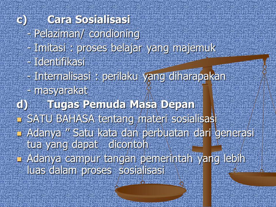 c) Cara Sosialisasi - Pelaziman/ condioning - Imitasi : proses belajar yang majemuk - Identifikasi - Internalisasi : perilaku yang diharapakan - masya