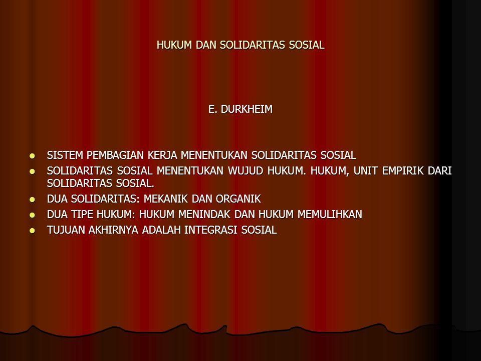 HUKUM DAN SOLIDARITAS SOSIAL E. DURKHEIM SISTEM PEMBAGIAN KERJA MENENTUKAN SOLIDARITAS SOSIAL SISTEM PEMBAGIAN KERJA MENENTUKAN SOLIDARITAS SOSIAL SOL