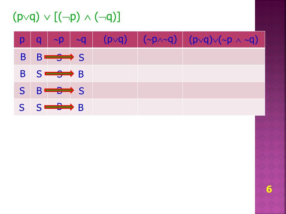 6 (p  q)  [(  p)  (  q)] pq pp qq (p  q) (  p  q) (p  q)  (  p   q) B B S S B S B S S S B B S B S B