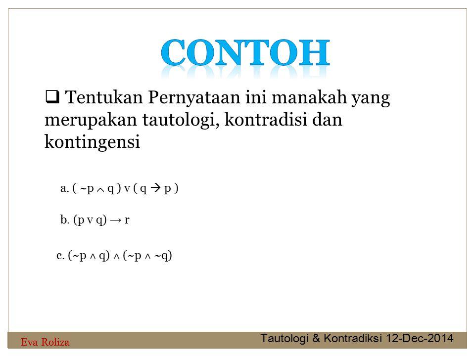 a. ( ~p  q ) v ( q  p )  Tentukan Pernyataan ini manakah yang merupakan tautologi, kontradisi dan kontingensi b. (p v q) → r c. (~p ˄ q) ˄ (~p ˄ ~q