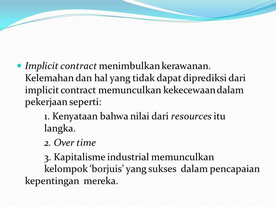 Implicit contract menimbulkan kerawanan.