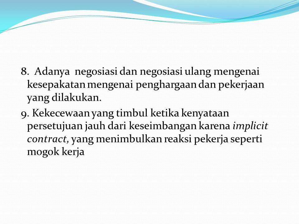 8. Adanya negosiasi dan negosiasi ulang mengenai kesepakatan mengenai penghargaan dan pekerjaan yang dilakukan. 9. Kekecewaan yang timbul ketika kenya