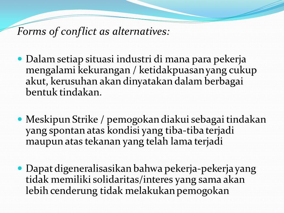 Forms of conflict as alternatives: Dalam setiap situasi industri di mana para pekerja mengalami kekurangan / ketidakpuasan yang cukup akut, kerusuhan akan dinyatakan dalam berbagai bentuk tindakan.