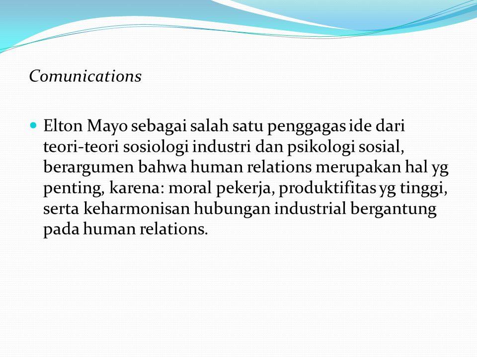 Comunications Elton Mayo sebagai salah satu penggagas ide dari teori-teori sosiologi industri dan psikologi sosial, berargumen bahwa human relations merupakan hal yg penting, karena: moral pekerja, produktifitas yg tinggi, serta keharmonisan hubungan industrial bergantung pada human relations.