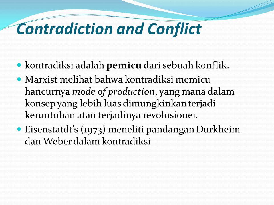 Contradiction and Conflict kontradiksi adalah pemicu dari sebuah konflik.