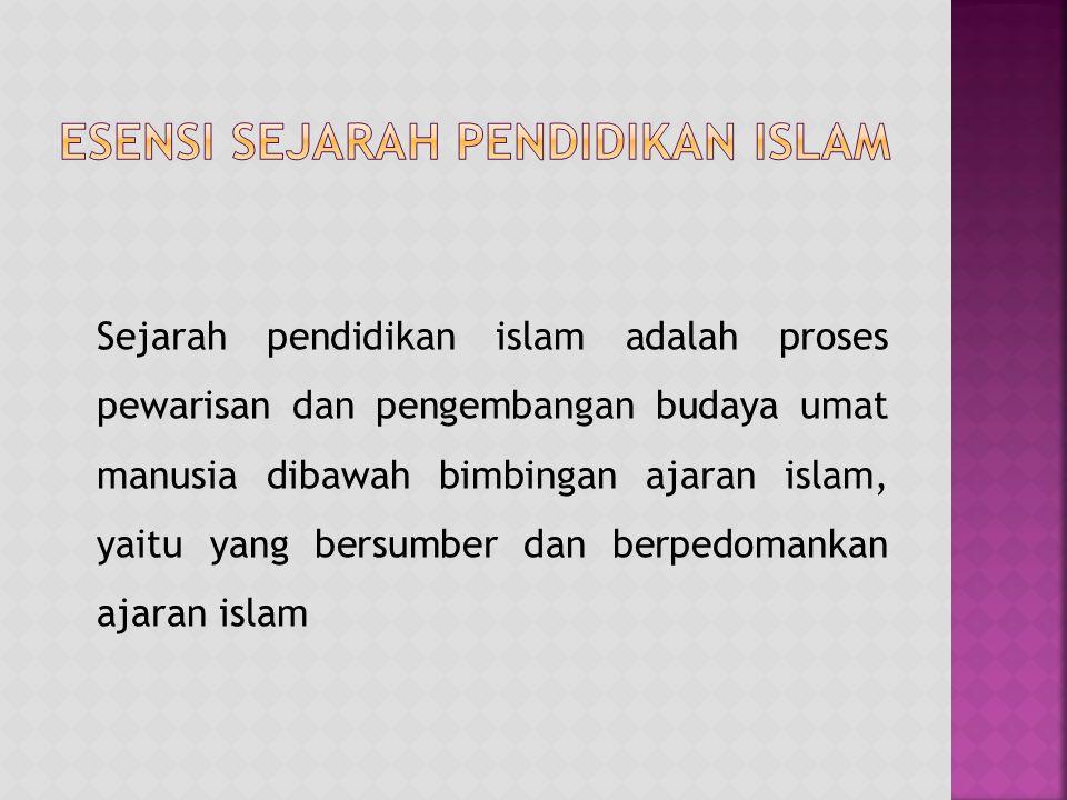 Sejarah pendidikan islam adalah proses pewarisan dan pengembangan budaya umat manusia dibawah bimbingan ajaran islam, yaitu yang bersumber dan berpedo