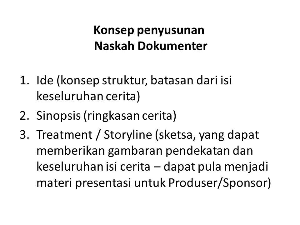 Konsep penyusunan Naskah Dokumenter 1.Ide (konsep struktur, batasan dari isi keseluruhan cerita) 2.Sinopsis (ringkasan cerita) 3.Treatment / Storyline (sketsa, yang dapat memberikan gambaran pendekatan dan keseluruhan isi cerita – dapat pula menjadi materi presentasi untuk Produser/Sponsor)