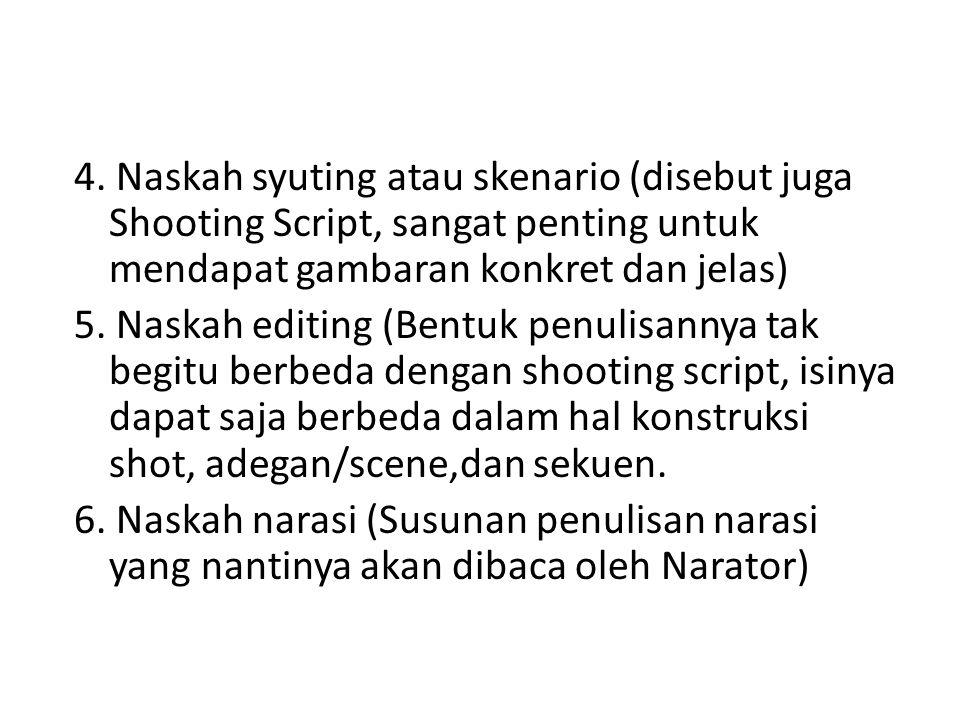 4. Naskah syuting atau skenario (disebut juga Shooting Script, sangat penting untuk mendapat gambaran konkret dan jelas) 5. Naskah editing (Bentuk pen