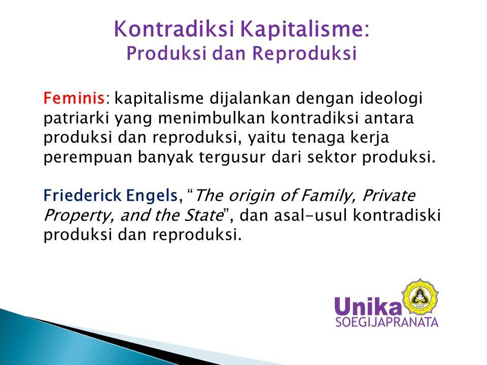 Kontradiksi Kapitalisme: Produksi dan Reproduksi Feminis: kapitalisme dijalankan dengan ideologi patriarki yang menimbulkan kontradiksi antara produks