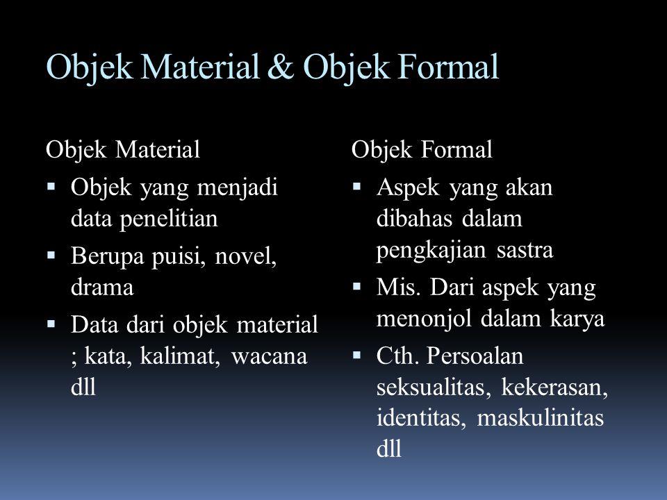 Objek Material & Objek Formal Objek Material  Objek yang menjadi data penelitian  Berupa puisi, novel, drama  Data dari objek material ; kata, kali