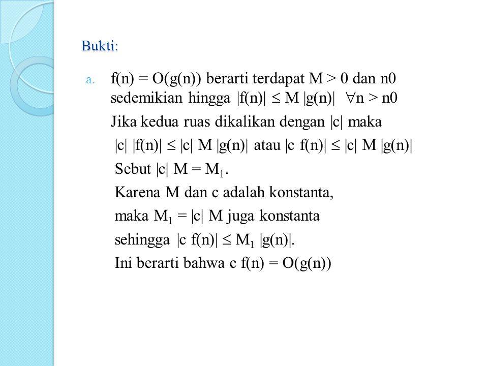 Bukti: a. f(n) = O(g(n)) berarti terdapat M > 0 dan n0 sedemikian hingga |f(n)|  M |g(n)|  n > n0 Jika kedua ruas dikalikan dengan |c| maka |c| |f(n