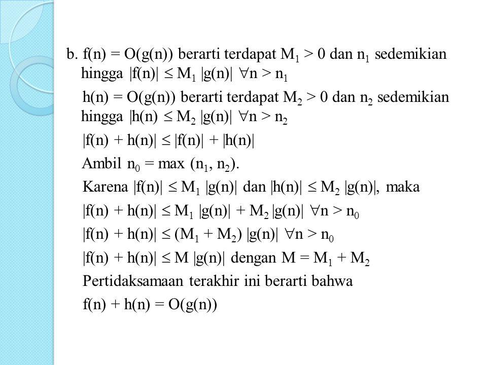 b. f(n) = O(g(n)) berarti terdapat M 1 > 0 dan n 1 sedemikian hingga |f(n)|  M 1 |g(n)|  n > n 1 h(n) = O(g(n)) berarti terdapat M 2 > 0 dan n 2 sed