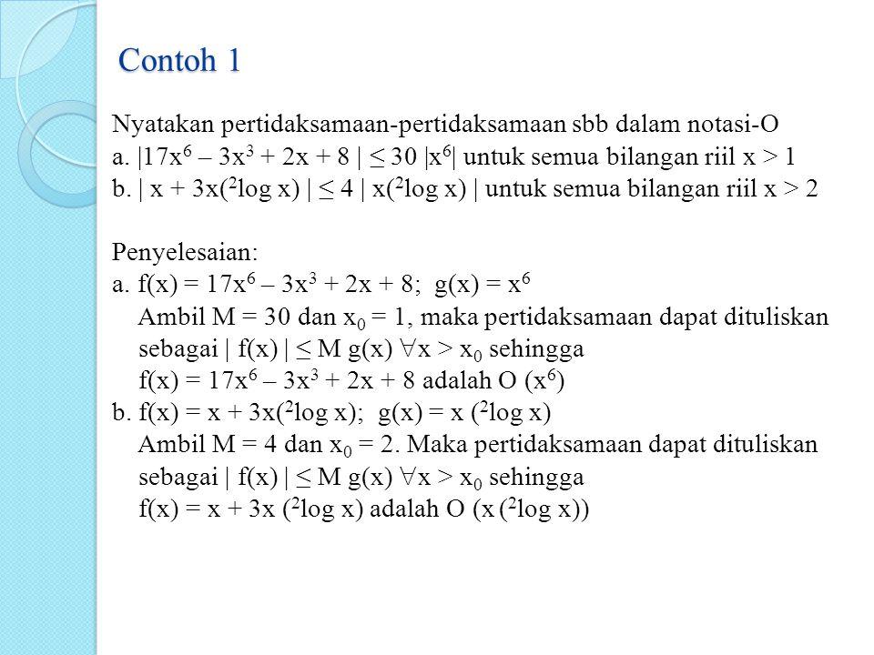 Contoh 1 Nyatakan pertidaksamaan-pertidaksamaan sbb dalam notasi-O a. |17x 6 – 3x 3 + 2x + 8 | ≤ 30 |x 6 | untuk semua bilangan riil x > 1 b. | x + 3x