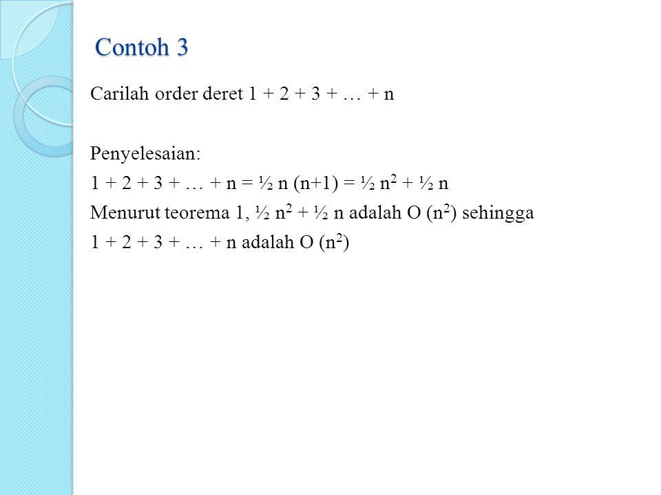 Contoh 3 Carilah order deret 1 + 2 + 3 + … + n Penyelesaian: 1 + 2 + 3 + … + n = ½ n (n+1) = ½ n 2 + ½ n Menurut teorema 1, ½ n 2 + ½ n adalah O (n 2