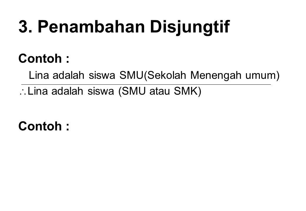 3. Penambahan Disjungtif Contoh : Lina adalah siswa SMU(Sekolah Menengah umum)  Lina adalah siswa (SMU atau SMK) Contoh :