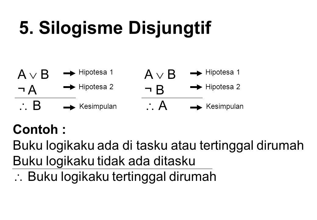 5. Silogisme Disjungtif A  B ¬ A  B Hipotesa 1 Hipotesa 2 Kesimpulan A  B ¬ B  A Hipotesa 1 Hipotesa 2 Kesimpulan Contoh : Buku logikaku ada di ta