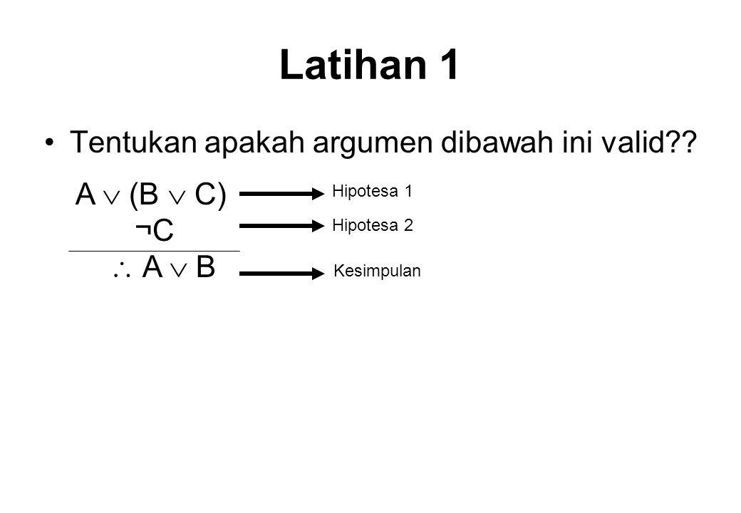 Jawab Baris ke ABC B  CA  (B  C) ¬ C A  B 1TTTTTFT 2TTFTTTT 3TFTTTFT 4TFFFTTT 5FTTTTFT 6FTFTTTT 7FFTTTFF 8FFFFFTF Hipotesa 1Hipotesa 2 Baris kritis jika kedua hipotesa T Valid Kesimpulan