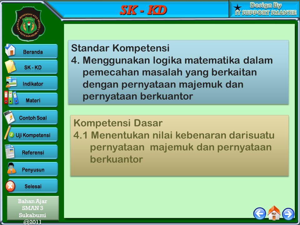 Bahan Ajar SMAN 3 Sukabumi @2011 Bahan Ajar SMAN 3 Sukabumi @2011 SK - KD Standar Kompetensi 4. Menggunakan logika matematika dalam pemecahan masalah
