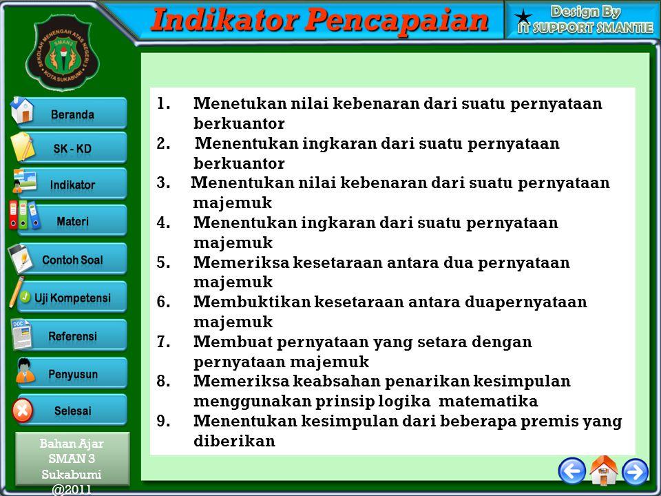Bahan Ajar SMAN 3 Sukabumi @2011 Bahan Ajar SMAN 3 Sukabumi @2011 Indikator Pencapaian 1.Menetukan nilai kebenaran dari suatu pernyataan berkuantor 2.