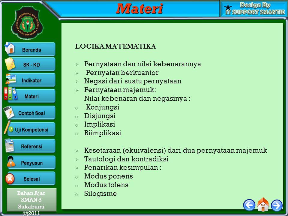 Bahan Ajar SMAN 3 Sukabumi @2011 Bahan Ajar SMAN 3 Sukabumi @2011 LOGIKA MATEMATIKA  Pernyataan dan nilai kebenarannya  Pernyatan berkuantor  Negas