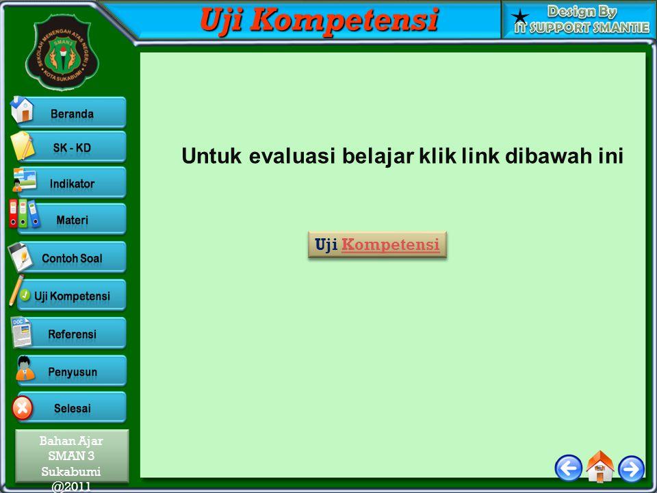 Bahan Ajar SMAN 3 Sukabumi @2011 Bahan Ajar SMAN 3 Sukabumi @2011 Uji Kompetensi Untuk evaluasi belajar klik link dibawah ini Uji Kompetensi Uji Kompetensi