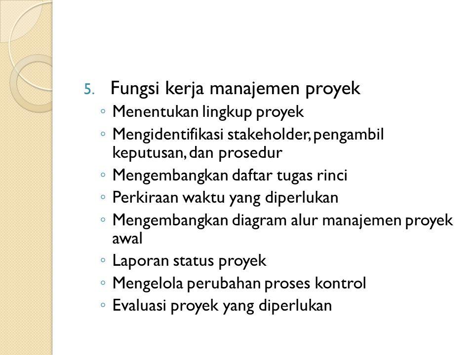 5. Fungsi kerja manajemen proyek ◦ Menentukan lingkup proyek ◦ Mengidentifikasi stakeholder, pengambil keputusan, dan prosedur ◦ Mengembangkan daftar