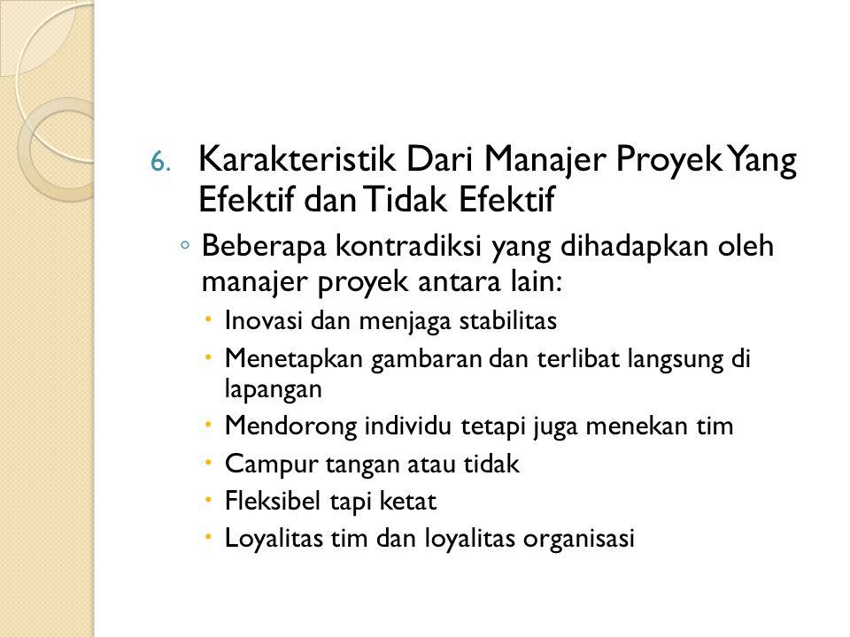 6. Karakteristik Dari Manajer Proyek Yang Efektif dan Tidak Efektif ◦ Beberapa kontradiksi yang dihadapkan oleh manajer proyek antara lain:  Inovasi