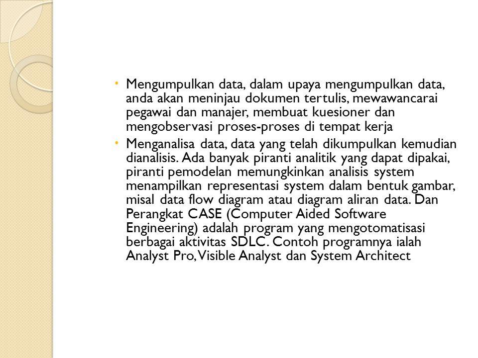  Mengumpulkan data, dalam upaya mengumpulkan data, anda akan meninjau dokumen tertulis, mewawancarai pegawai dan manajer, membuat kuesioner dan mengobservasi proses-proses di tempat kerja  Menganalisa data, data yang telah dikumpulkan kemudian dianalisis.