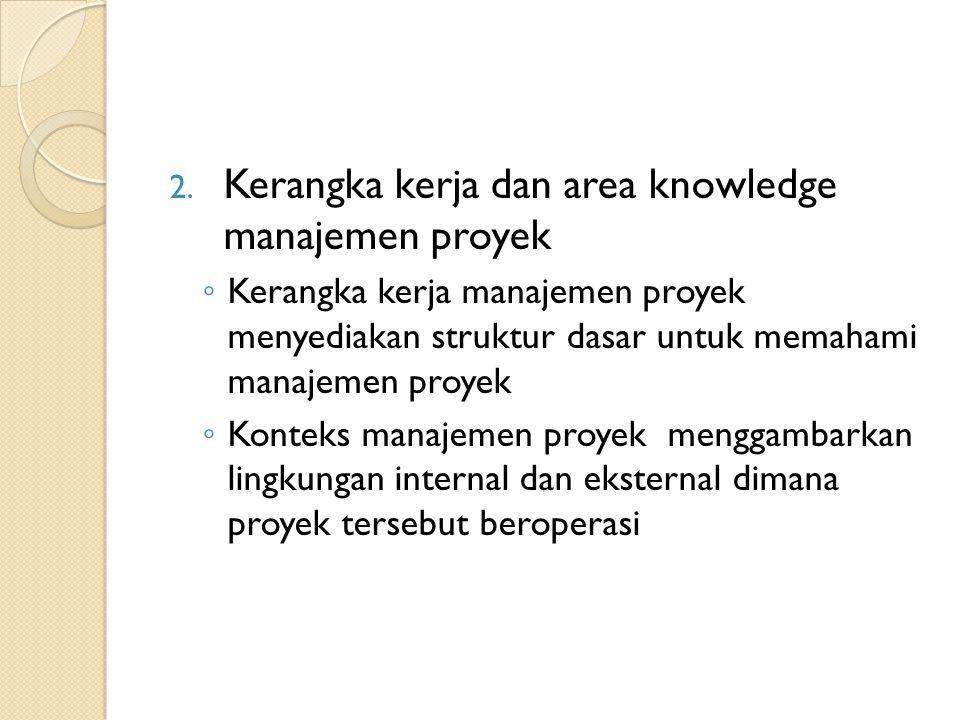 2. Kerangka kerja dan area knowledge manajemen proyek ◦ Kerangka kerja manajemen proyek menyediakan struktur dasar untuk memahami manajemen proyek ◦ K