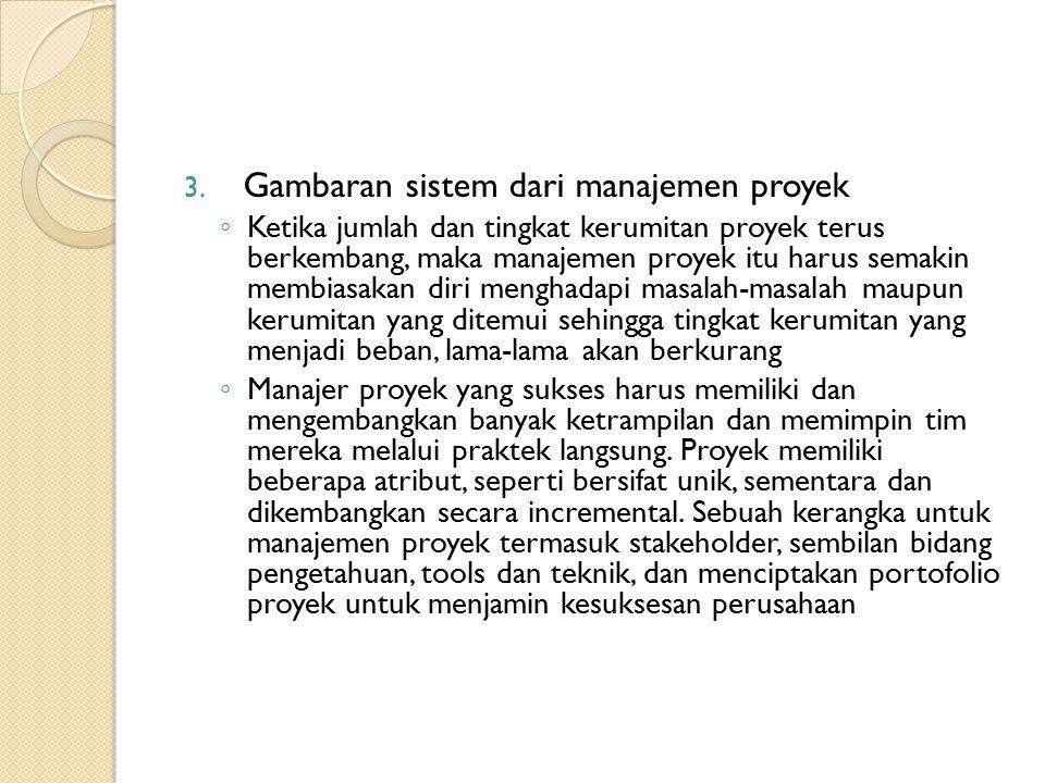 3. Gambaran sistem dari manajemen proyek ◦ Ketika jumlah dan tingkat kerumitan proyek terus berkembang, maka manajemen proyek itu harus semakin membia
