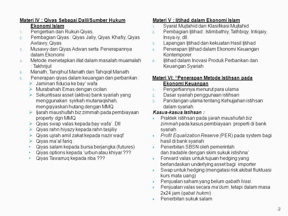 Materi IV : Qiyas Sebagai Dalil/Sumber Hukum Ekonomi Islam 1. Pengertian dan Rukun Qiyas, 2. Pembagian Qiyas : Qiyas Jaliy, Qiyas Khafiy, Qiyas Awlawy