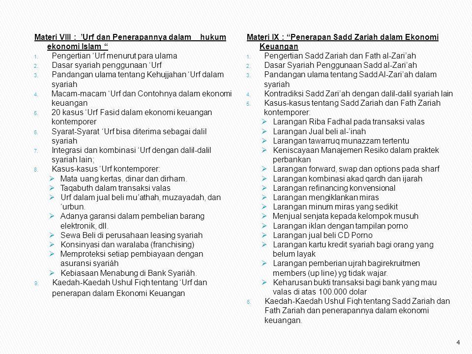 "Materi VIII : 'Urf dan Penerapannya dalam hukum ekonomi Islam "" 1. Pengertian 'Urf menurut para ulama 2. Dasar syariah penggunaan 'Urf 3. Pandangan ul"