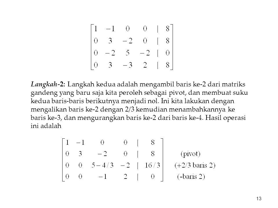 Langkah-2: Langkah kedua adalah mengambil baris ke-2 dari matriks gandeng yang baru saja kita peroleh sebagai pivot, dan membuat suku kedua baris-bari
