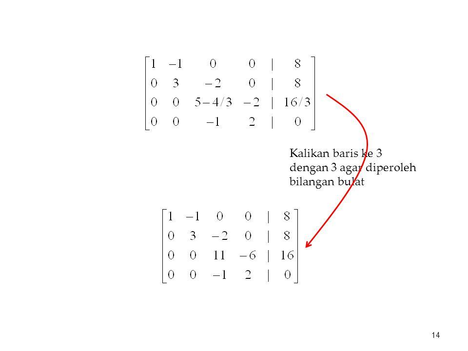 Kalikan baris ke 3 dengan 3 agar diperoleh bilangan bulat 14