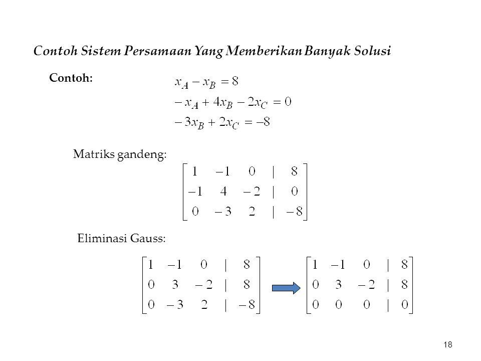 Contoh Sistem Persamaan Yang Memberikan Banyak Solusi Matriks gandeng: Eliminasi Gauss: Contoh: 18